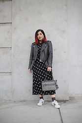 Yuka I. - Polka Dot Dress, Ganni Leather Jacket, Black Sparkle Socks, Adidas Sneakers, Louis Vuitton Vintage Bag - The hero dress