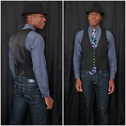 Thomas G - Levi's 511 Strauss & Co, Bugle Boy Floral, Faded Glory Fedora, Smash Button Down, New York & Company Six Button 'Stretch' - Fedora + Tie + Vest + Jeans