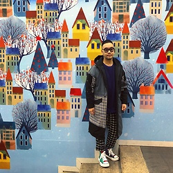 Mannix Lo - Online Shop Patchwork Checked Long Outer, Dries Van Noten Sweater, Uniqlo Checked Cropped Pants, Miharayasuhiro Multicolor Hi Top Sneakers - We planted a seed, but need give it the love to grow