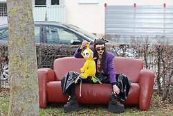 †Norelle Rheingold† - Teletubbies Backpack, Buffalo Tower Boots, Thrifted Jacket, Thrifted Pants - Teletubbies Grunge