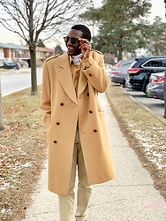 Fred Anyona - Asos Camel Overcoat, Ray Ban Clubmaster Black Sunglasses, Gap Khaki Pants, Zara Silk Shirt - Clean monochromatic beige outfit
