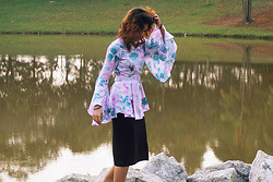 Shanaz AL - Floral Flare Sleeve Wrap Blouse, Black Cotton Midi Skirt - Lake Lady