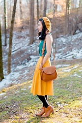 Serena J - Madewell Bag, Anthropologie Fall Forward Beret (Dark Yellow), Swimmie Colorful Neck Scarf, Ann Taylor Loft Teal Silk Top, Modcloth Just This Sway Skirt (Goldenrod), Madewell Billie Boot (Saddle) - The Yellow Beret