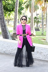 Kristen Tanabe - Mural Hot Pink Blazer, Forever 21 Sheer Long Sleeve Top, T By Alexander Wang Black Satin Bralette, Simply Styled Black Leggings, Forever 21 Maxi Pleated Tulle Skirt, Jewel By Badgley Mischka Pointed Boots, Mark Cross Box Clutch Crossbody Purse, Moschino Logo Belt, Midori Linea Tiered Choker Necklace, Marc Jacobs Black And Gold Sunglasses, Grinnell Designs Heart Statement Earrings - Not So Basic Pink