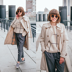 Christina&Karina Vartanovy - Burberry Beige Trench Coat, Chic Wish Grid Round Neck Sweater, Zaful Grey Checked Tapered Pants, Asos Grey Woolen Plimsolls - Christina // someone special