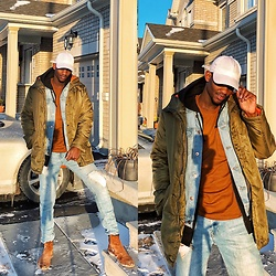 Fred Anyona - Forever 21 Olive Jacket, Forever 21 Denim Jacket, Forever 21 Brown Tshirt, Lids Baseball Cap, Forever 21 Ripped Denim, Call It Spring Brown Chelsea Boots - Layered Neutrals