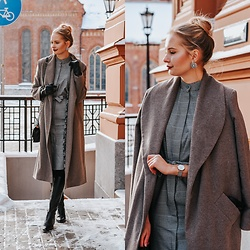 Madara L - The Metropolitan Chick Checkered Midi Dress, The Metropolitan Chick Wool Coat - Winter shades of grey