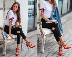 Jenny Mehlmann - Shein Ribbons Embellished Tee, Zara Red Suede Strappy Pumps, H&M Ripped Denim Jacket - LIKE ONE OF YOUR FRENCH GIRLS // thehungarianbrunette.com