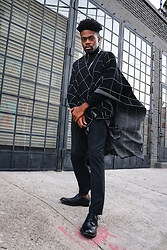 Vernon M. - Topman Grid Cape, Perry Ellis Slim Dress Pants, Steve Madden Black Wingtip, H&M Black Turtleneck - L.A Winters Be Like...