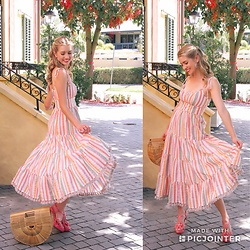 Heidi Landford - Zimmermann Heather Striped Dress, Alannah Hill Pink Flower Shoes, Cult Gaia Ark Bamboo Bag - Candy Stripes