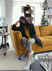Mariana Garza - Zara Pants, Zara Dad Sneakers, Calvin Klein Coat - Home is where the yellow couch is