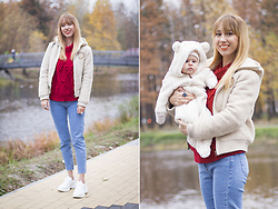 Julia F. - Bershka Jeans, Zaful Sweater, Skechers D Lites, H&M Baby Overall - First family look