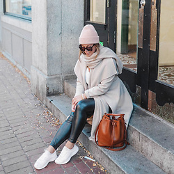 Alexandra G. - Mackage Wool Trench Coat, Aritzia Leather Leggings - Soft Neutrals