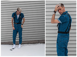 Dakota J. - Asos Black Leather Harness, Forever 21 Men's Denim Coveralls, H&M White Basic T Shirt, Converse White Custom, Shore Projects Silver Watch - | COVERALLS |