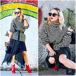 Zia Domic - Chicwish Striped Sweater, Cece By Cynthia Steffe Polkadot Skirt - Stripes & Dots