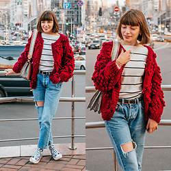 Christina&Karina Vartanovy - Chic Wish Knit Cardigan In Wine, Shein Neck Striped White Sweater, Asos Shoulder Bag With Wide Snake Detail, Pull & Bear Blue Ripped Boyfriend Jeans, Converse Chuck Taylor High Top Sneaker With Stars - Christina // something just like this