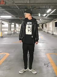 ★masaki★ - Zara Cap, Vintage Leather Jacket, Off! Tee, Asos Dropcrotch, Vans 50th Limited - Old Skool