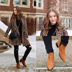 Taylor Doucette - Zara Cheetah Print Coat, Citizens Of Humanity Distressed Jeans, Marc Fisher Brown Suede Boots, Allsaints Crossbody Purse - Apologize - grandson