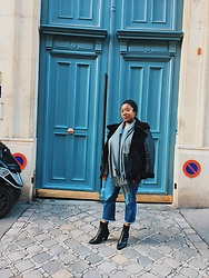 Laura Owusu - Asos Cropped Jeans, Topshop Cowboy Inspired Boots, Jennyfer Black Coat, H&M Grey Scarf - Parisian casual