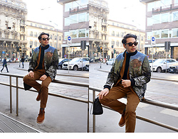 Ronan Summers - Etro Jacquard Jungle Bomber Jacket, Prada Nylon Bucket Bag, Prada Suede Desert Boots - Etro Jungle