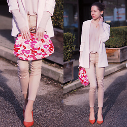 Claire H - H&M Rose Blazer, &Otherstories Clutch, Högl Red Heels, H&M Knit - Save your kisses