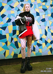 Lilian Anneloes - Weekday Sigmund Freud Tee, Dolls Kill Red Tennis Skort, Current Mood Lace Up Platform Boots, Monki Lammy / Pu Jacket - PSYCHOANALYSIS