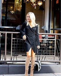 Amber Wilkerson - Little Black Dress, Over The Knee Boots, Snake Effect Shoulder Bag - LBD FRIDAY NIGHT LIGHTS