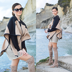 Tamara Bellis - Shein Poncho, H&M Sweater, H&M Mini Skirt, Zaful Over The Knees - Trendy Poncho Style In