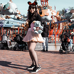 Camila C - Disney Minnie Ears, Shein Bell Sleeve Top, American Apparel Petticoat Skirt, Urban Outfitters Rhinestone Fishnets, Puma Sneakers - Disney World