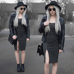 Sammi Jackson - Primark Black Fedora, Zaful Sunglasses, Shein Biker Jacket, Everything5pounds Sparkly Dress, Oasap Quilted Flap Bag, Office Chunky Ankle Boots - SPARKLY DRESS