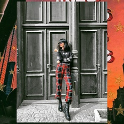 Isabelle Khr - Dolce & Gabbana Checked Trousers, H&M Hoodie - Grungy touch