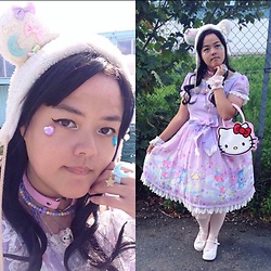 Luvian - Infanta Bear Themed Dress, Hello Kitty Bag, Kawaiigoods Bear Hat, Angelic Pretty Melty Moon Ring - Sweet Lolita