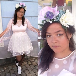Luvian - Glitter Flower Crown, Adidas Holographic Sneakers, H&M Pink Dress (Thrift) - Soft shade of pink