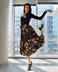 Gi Shieh - H&M Black Long Sleeved Dress, Thrifted Printed Maxi Skirt, H&M Striped Black Heels - Later Winter