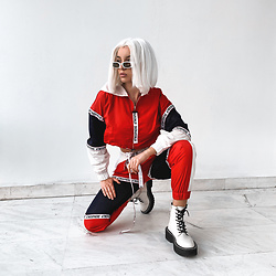 Krist Elle - Fashionnova Atmosphere Set, Dr. Martens White Jadon 8 Eye Boots - Fashionnova set / krist elle