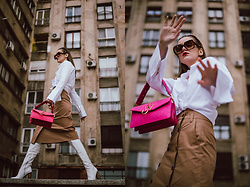 Andreea Birsan - White Button Down Shirt, Pink Logo Felt Bag, Beige Double Breasted Midi Skirt, White Leather Over The Knee Boots, Oversized Sunglasses - Wardrobe basics