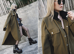 Vita Chen - Vii & Co. Cotton Twill Button Up Shirt, Vii & Co. Army Green Sunglasses, Vii & Co. Zip Front Leather Shorts, Vii & Co. Leo Toebox Platform Boots - Olive Drab