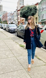 Stephanie - Ray Ban Sunglasses, Zara Floral Blouse, Zara High Waisted Jeans, Ralph Lauren Slip On Sneaker, Nautica Wool Coat - Floral & denim