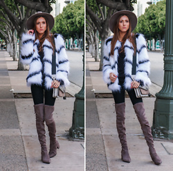 Jenny Mehlmann - Forever 21 Faux Fur Jacket, Aldo Over The Knee Boots, Botkier Crossbody Bag, Urban Outfitters Felt Rancher Hat - FUR BABY // thehungarianbrunette.com