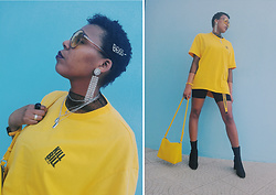 Yara Snow'z - Bershka Yellow Oversized T Shirt, Zara Yellow Bag, H&M Black Ankle Boots, Stradivarius Black Cycling Shorts - Yellow_0203