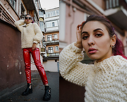 Valeria Chizhova - Mango Sunglasses, Zaful Earrings, Handmade Knitted Sweater, Thrifted Red Vinyl Pants - Soft but bold on leraseyo.blogspot.com