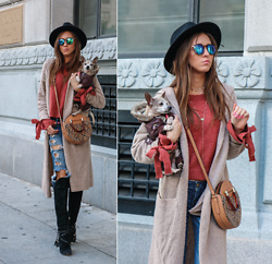 Jenny Mehlmann - Forever 21 Long Cardigan, Forever 21 Burnt Orange Sweater, Louise & Cie Black Felt Boots, American Eagle Outfitters Ripped Denim, Topshop Snakeskin Bag, Urban Outfitters Black Felt Hat - FALL(ING) INTO SPRING