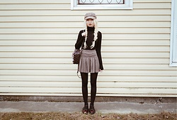 ♡Anita Kurkach♡ - Dr. Martens Shoes, Guess Bag, Zara Hat, Stylenanda Skirt, Zara Sweater - Preppy Girl