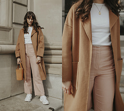 Tonya S. - Mango Camel Coat, Nice Things Palomas, Adidas Yung 1 - Winter and Spring Pieces