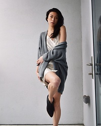 Gi Shieh - Urban Outfitters Knitted Muted Green Cardigan, Bcbg Shiny Cocktail Dress, Matisse Pointed Black Booties - Mix & Match