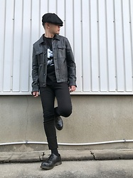 ★masaki★ - Newyorkhat Casquette, Ch. Leather Jacket, David Bowie Heroes, The End Skinnyjeans, Dr. Martens 3hole - Just For Oneday