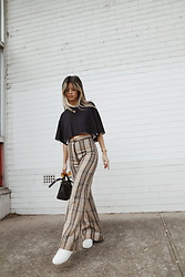 Leanne Pak - Vintage Trousers, Bassike Crop Top, Reebok Sneakers - CHECK MATE