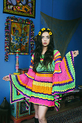 Muzzy Stardust - Fantasia Superstar Rainbow Psychedelic M A R I J K E Bell Sleeve 1960s Inspired Colorful Crochet Dress - Rainbow Dreamer