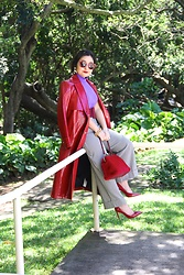 Kristen Tanabe - Topshop Red Faux Croc Trench Coat, Zara Lilac Sleeveless Mock Neck Top, Zara Checkered Pants, Valentino Red Pointed Heels, Leith Faux Fur Purse, Forever 21 Burgundy Belt, Miu Red Sunglasses - Crimson & Lilac