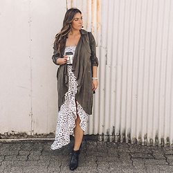 Alexandra G. - Revolve Trench Coat, Lost In Lunar Printed Maxi Dress - Spotted